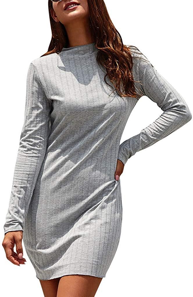 TIANMI Womens Fashion Casual Ladies O-Neck Long Sleeves Bodycon Party Mini Dress