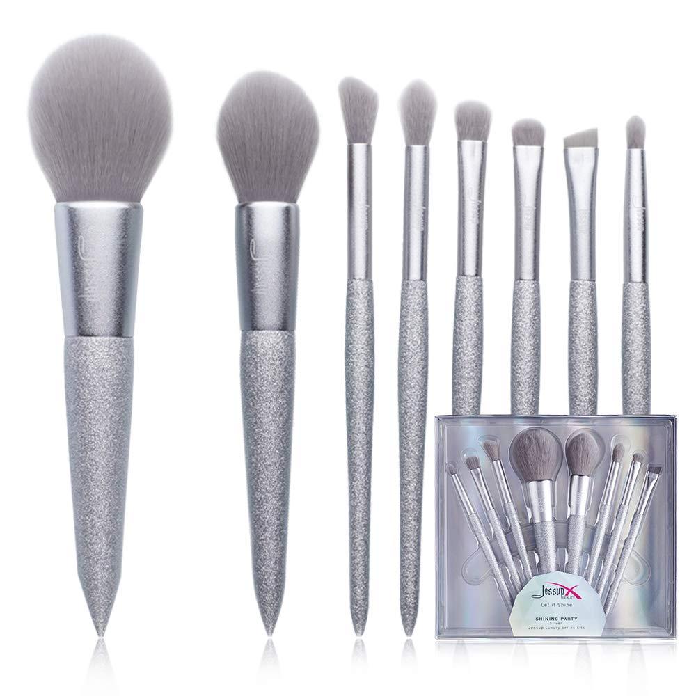 Jessup Makeup Brushes - Powder Blush Blending Contour Eyebrow Eye Shadow Brush with a Makeup Case, Eight piece Vegan Makeup Brushes T265 (Silver)