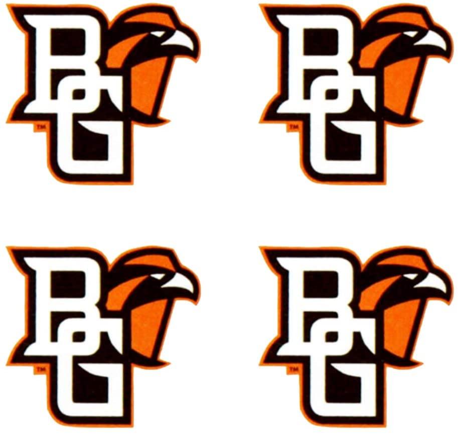 Bowling Green State University (BGSU) Falcons – Waterless Peel & Stick Temporary Spirit Tattoos – 4-Piece – Orange/Brown BG Logo