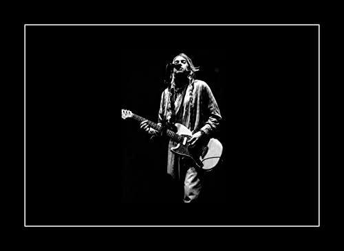 8 x 10 All Wood Framed Photo Kurt Cobain And Guitar