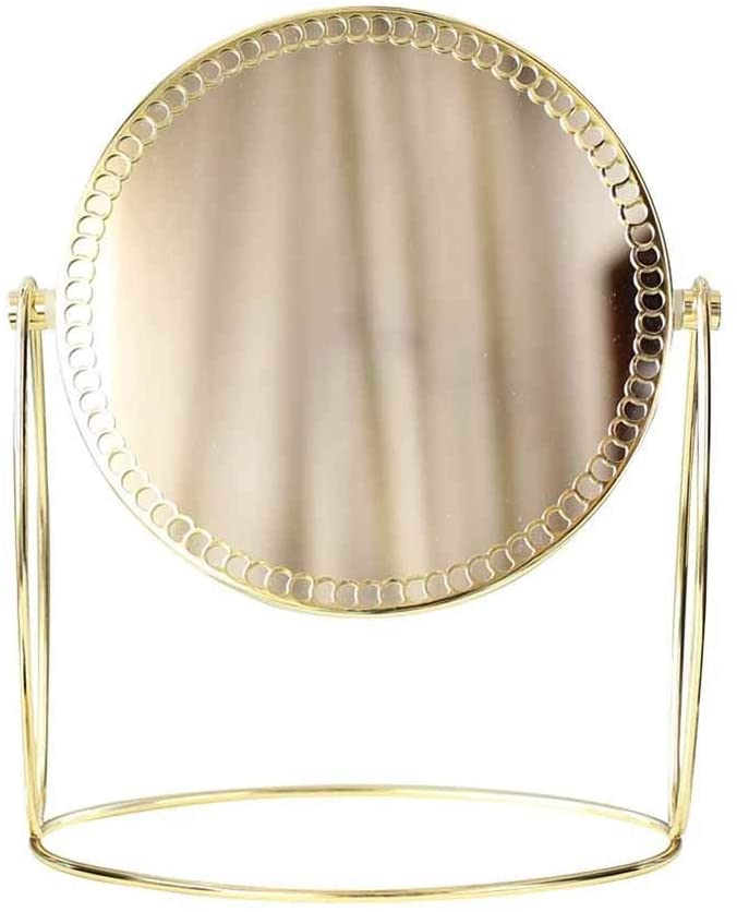 Andana Makeup Mirror, 1X/3X Round Double Sided Lace Desktop Vanity Mirror 【Gold】
