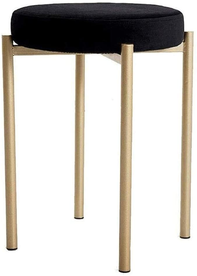 XLEVE Makeup Stool,Stool Wrought Iron Seat Bench Fabric Sofa Stool Low Stool Removable Washable Shoe Bench Stool (Color : Black)