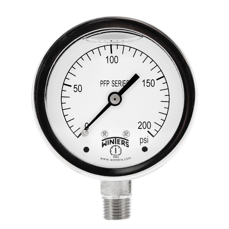 Winters PFP Series Premium Stainless Steel 304 Single Scale Liquid Filled Pressure Gauge, 0-200 psi, 2-1/2