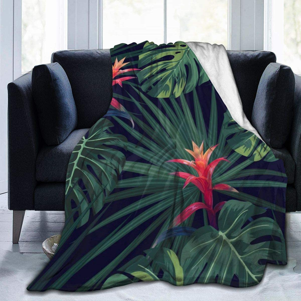 Micro Fleece Plush Soft Baby Blanket Tropical Monstera Leaves Fluffy Warm Toddler Bed/Crib Blanket Lightweight Flannel Daycare Nap Kids Sleeping Tummy Time Throw Blanket Girls Boy Clearance Kid/Baby