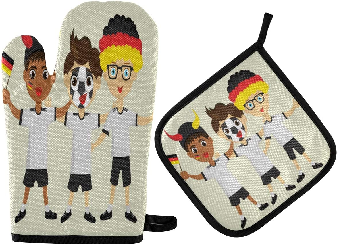 N\ A Fan of Germany National Football Oven Mitts and Potholder Set-Heat Resistant Oven Gloves to Protect Hands and Surfaces with Non-Slip Grip, Hanging Loop for Handling Hot Cookware Items