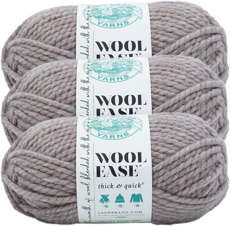 Lion Brand Yarn 640-554-3 Yarn, 3-Pack, Driftwood 3 Pack
