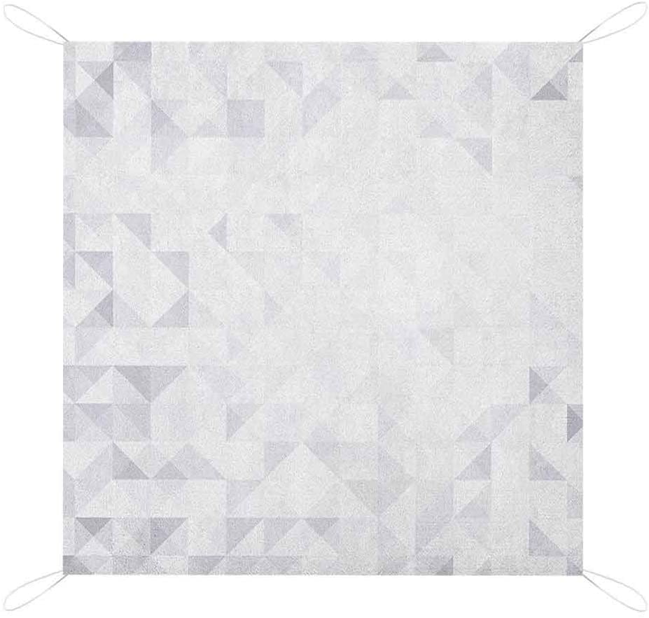 Nomorer Grey and White Sand Free Picnic Blanket Mat, Geometric Poly Artsy Triangles Abstract Pattern in Many Shades of Grey Custom Beach Blanket, 80