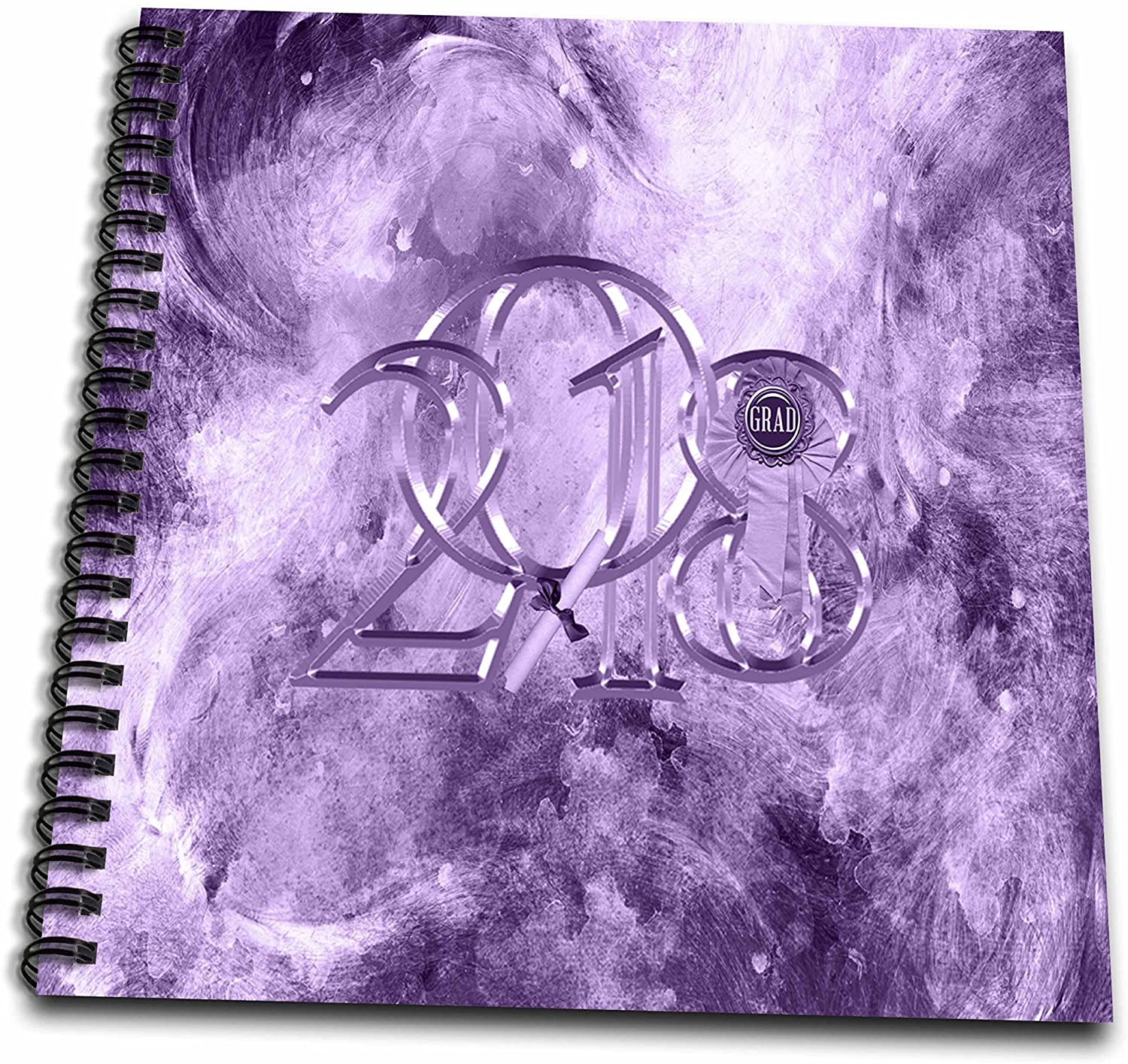 3dRose Beverly Turner Graduation Design - 2018 Metal Look Grad Ribbon, Diploma Leaning on the Number One, Purple - Memory Book 12 x 12 inch (db_276153_2)