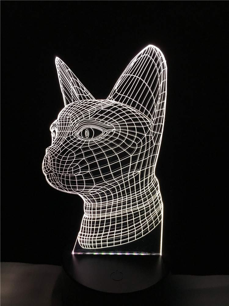 LED Night Light with Cute Animal cat Head Pattern,7 Colors Changing with USB Cable,Touch Remote Control, Best for Children Gift Baby Bedroom and Party Decorations.