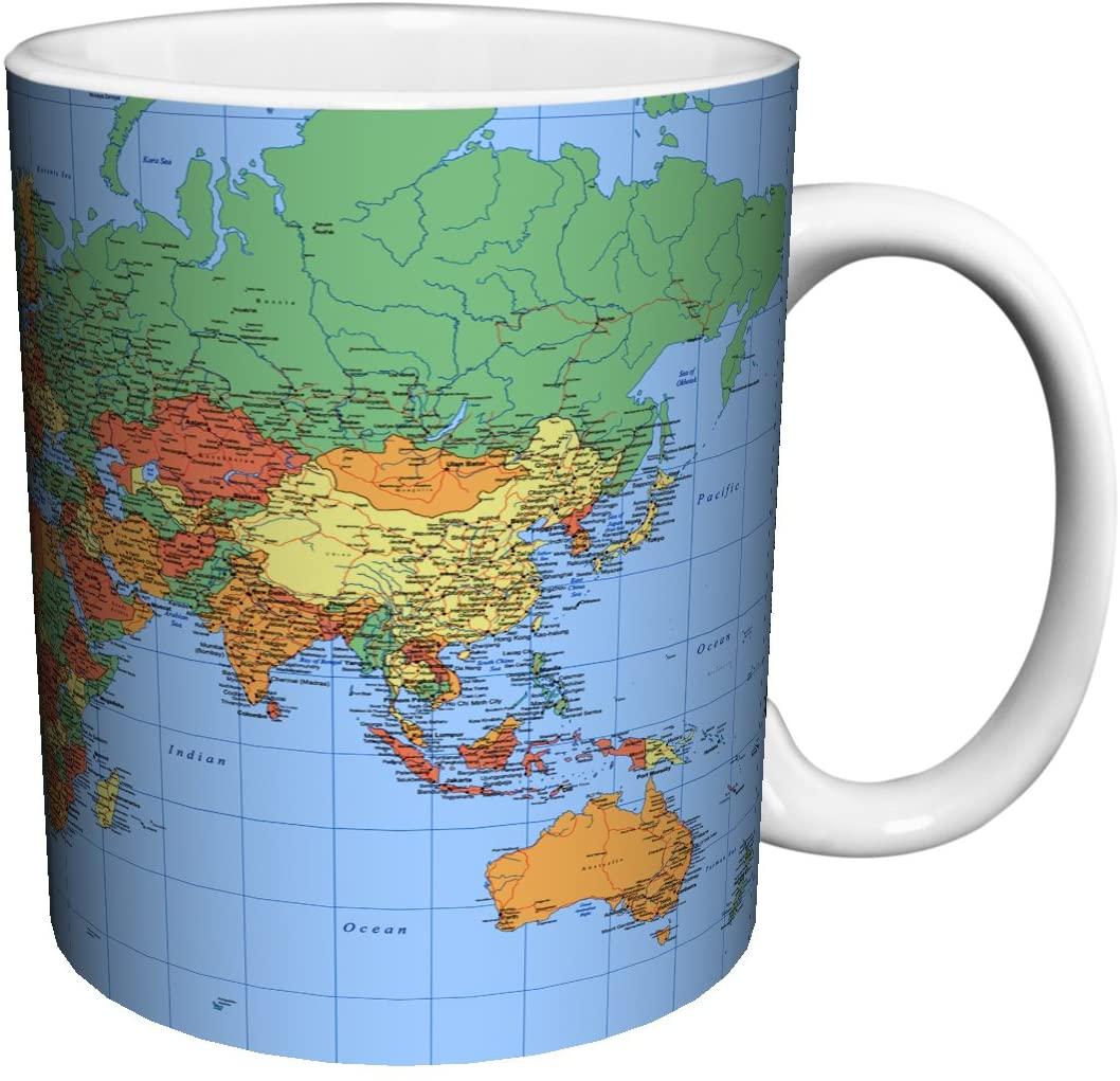 World Map Political Traditional Style Decorative Educational Porcelain Gift Coffee (Tea, Cocoa) 11 Oz. Mug