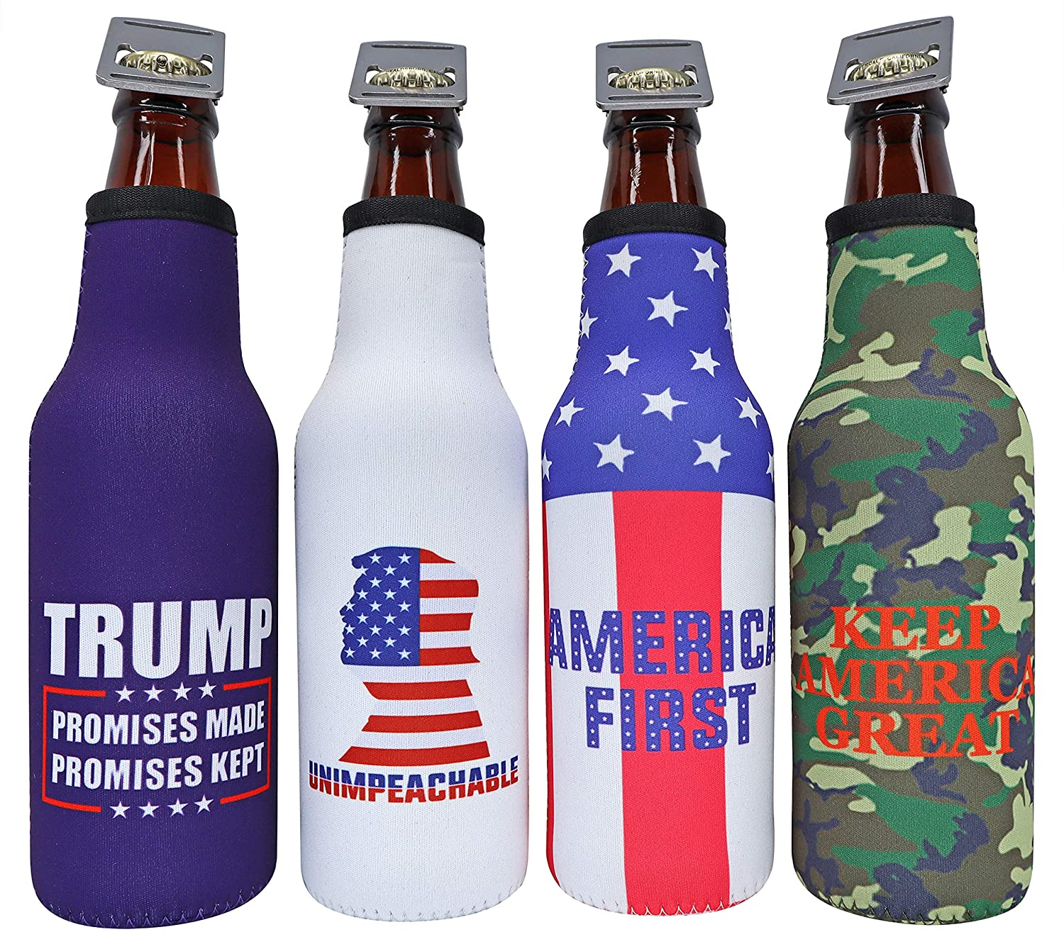 America First Beer Bottle Insulator - Donald Trump 2020 Promises Made Promises Kept, Keep America Great, Unimpeachable, MAGA Insulated Cooler Sleeve with Zipper and Built-In Removable Bottle Opener