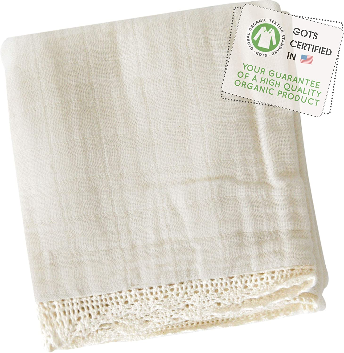 MakeMake Organics Organic Baby Blanket GOTS Certified Organic Cotton Muslin Blanket Toddler Daycare Bed Blanket Large Size Breathable Hypoallergenic Boys Girls Natural Lace (55