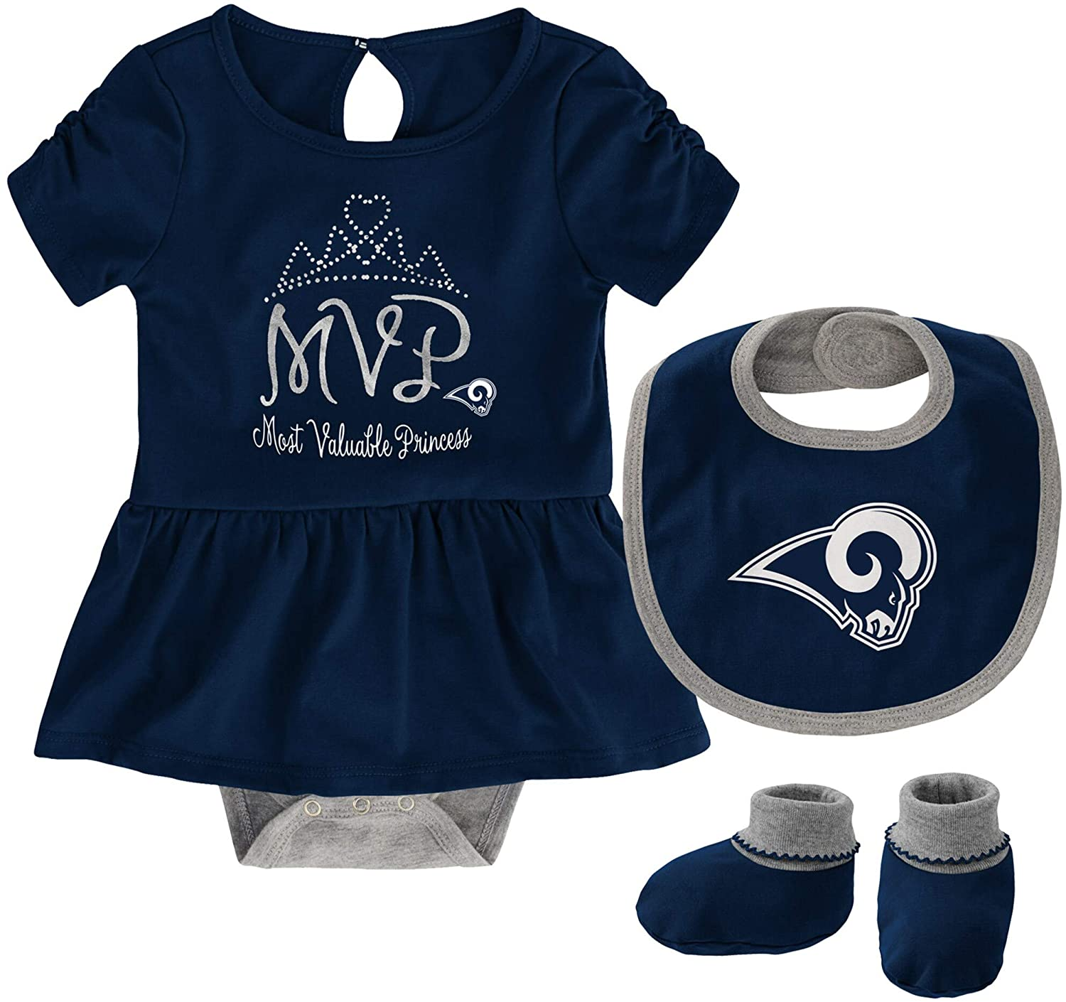 NFL Team Apparel Los Angeles Rams Girl's Size 6-9 Months 3 Piece Creeper Bib Bootie Set