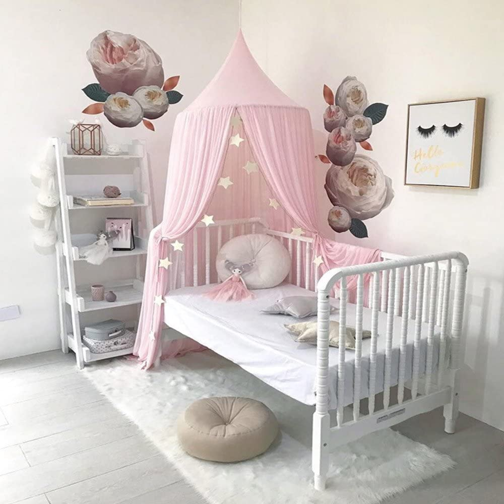 Takefuns Princess Bed Canopy Mosquito Net for Kids Baby Crib, Round Dome Kids Indoor Outdoor Castle Play Tent Hanging House Decoration Reading Nook Cotton Canvas Height