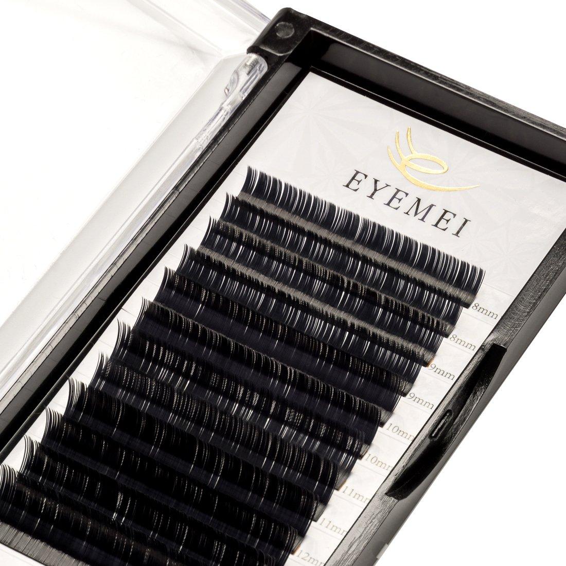 Ellipse Eyelash Extensions 0.15mm D Curl 8-14mm Mix Flat Lash Extension Light Lashes Individual Faux Matte Black Mink False Eyelash Extension Professional Salon Use by EYEMEI(0.15-D-Mix)