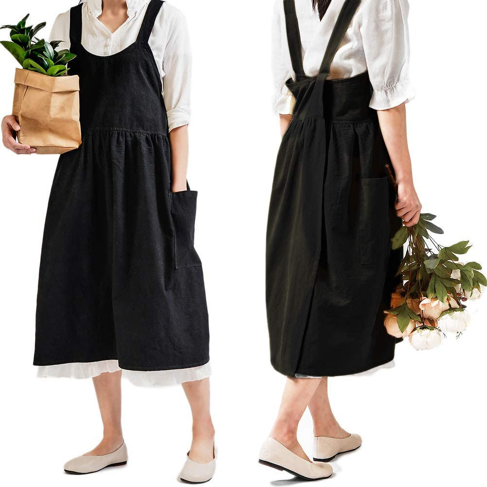 Cotton Linen Cross Back Apron for Women with Pockets Cute Japanese Korean Style Pinafore Dress for Cooking Baking Painting Gardening Cleaning Black without Waist Ties
