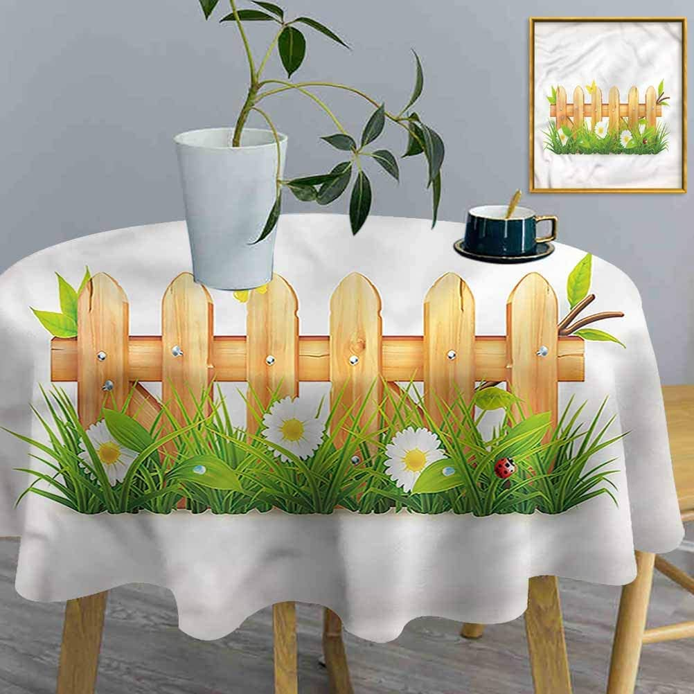ThinkingPower Round Table Cloth Farmland, Spring Season Chamomiles Waterproof Fabric Table Cover for Dining Room Party Outdoor Picnic (Diameter60 Inch)