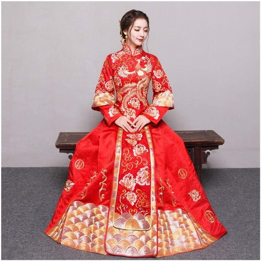 Japanese Style RED Plus Size 4XL 5XL 6XL Bride Dress Wedding Dress Retro Dress Chinese Cheongsam Dress The Bride Toast Clothing Long Section (Color : RED, Size : 6XL)