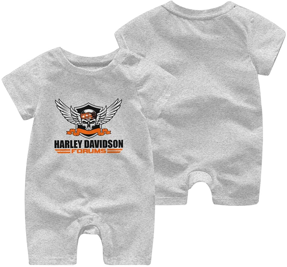 Harley Davidson One Piece Outfits Baby Solid Color Rompers with Button Kids Short Sleeve Playsuit Jumpsuits Cotton Clothing 0-3 Months Gray