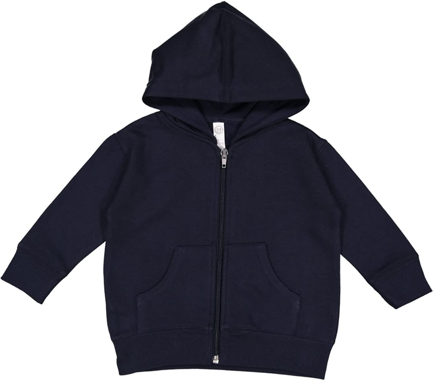 Rabbit Skins Infant Fleece Long Sleeve Full Zip Hooded Sweatshirt with Pouch Pockets, Navy, 12 Months