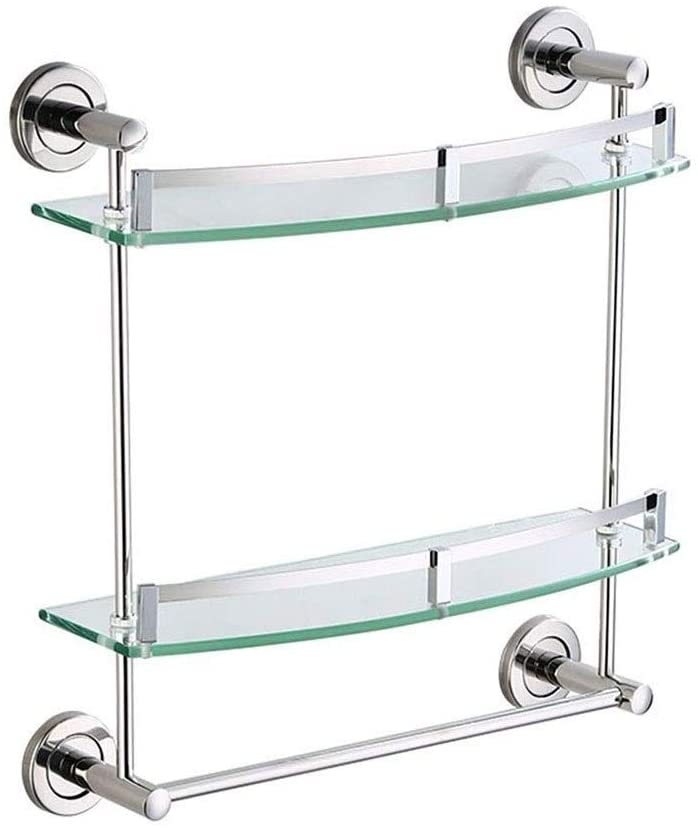 HUIZWJ Bathroom Corner Glass Shelf Floating Rack Wall-Mounted Storage Shelves with Towel Rail Drilling 30~50cm 1~3 Tiers HUIZWJ-0113 (Color : 2 Tiers, Size : 40cm)