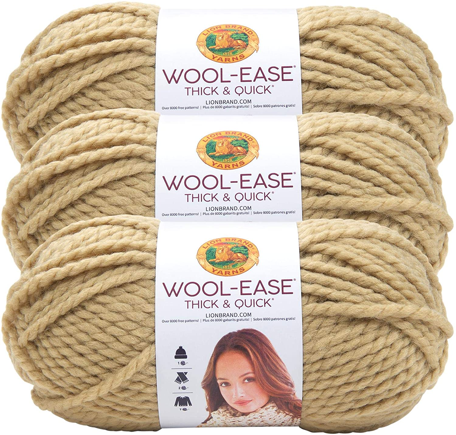 (3 Pack) Lion Brand Yarn 640-127 Wool-Ease Thick & Quick Yarn, Peanut