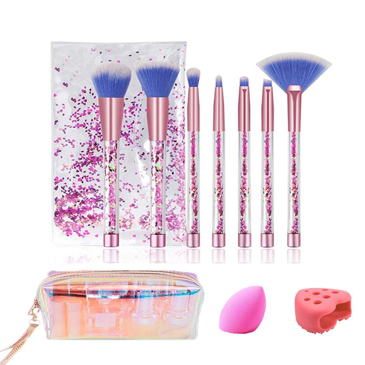 Glitter Quicksand Makeup Brush Set,7 Makeup Brushes for Foundation Powder Blush Eyeshadow & 1 Blender Sponges & 1 Brush Cleaner Mat with drying rack & 1 Cosmetic bag