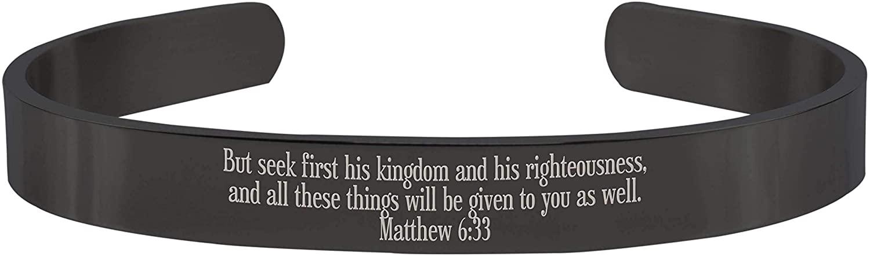 Pink Box 8MM Solid Stainless Steel Scripture Cuffs - Matthew 6:33 - Black -