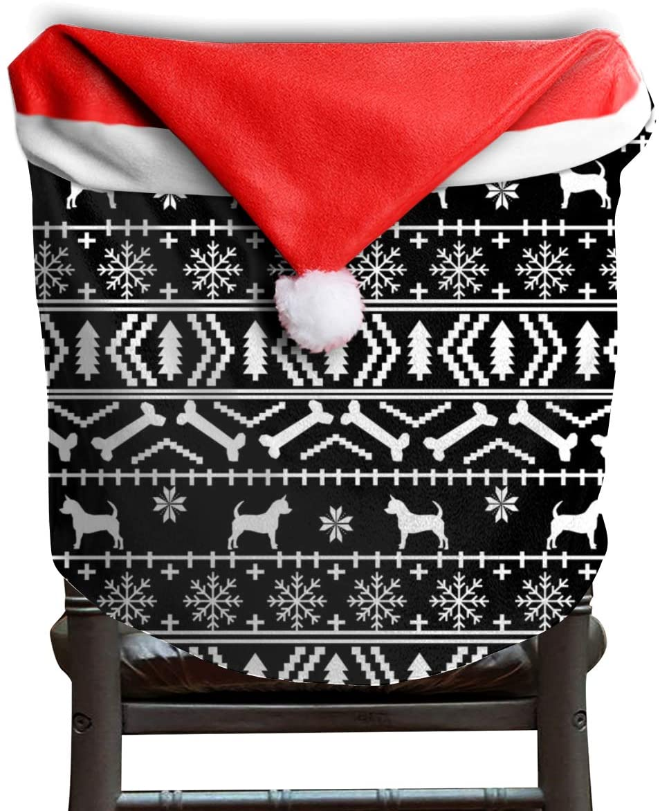NA 2 Pack Santa Claus Christmas Chair Covers, Chair Back Covers for Dinning or Kitchen Decorations,Chi Fair Isle 6