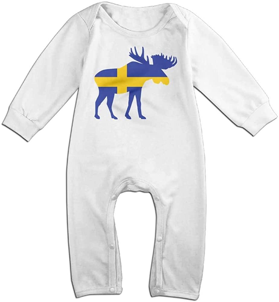 Mrei-leo Baby Girl Long Sleeve Jumpsuit Swedish Flag and Moose Baby Rompers(18M) White