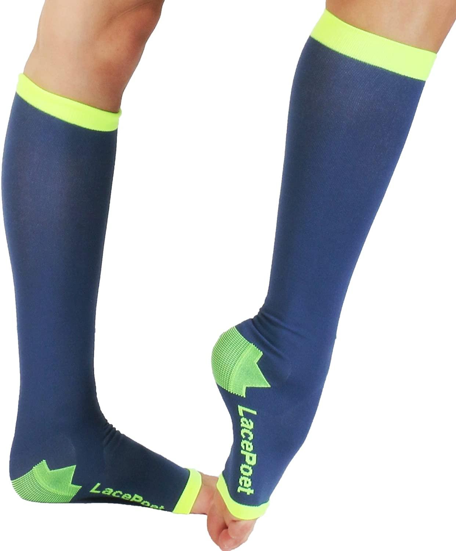 Lace Poet Knee-High Yoga/Sleep Compression Toeless Socks (Mystic Blue, Medium)