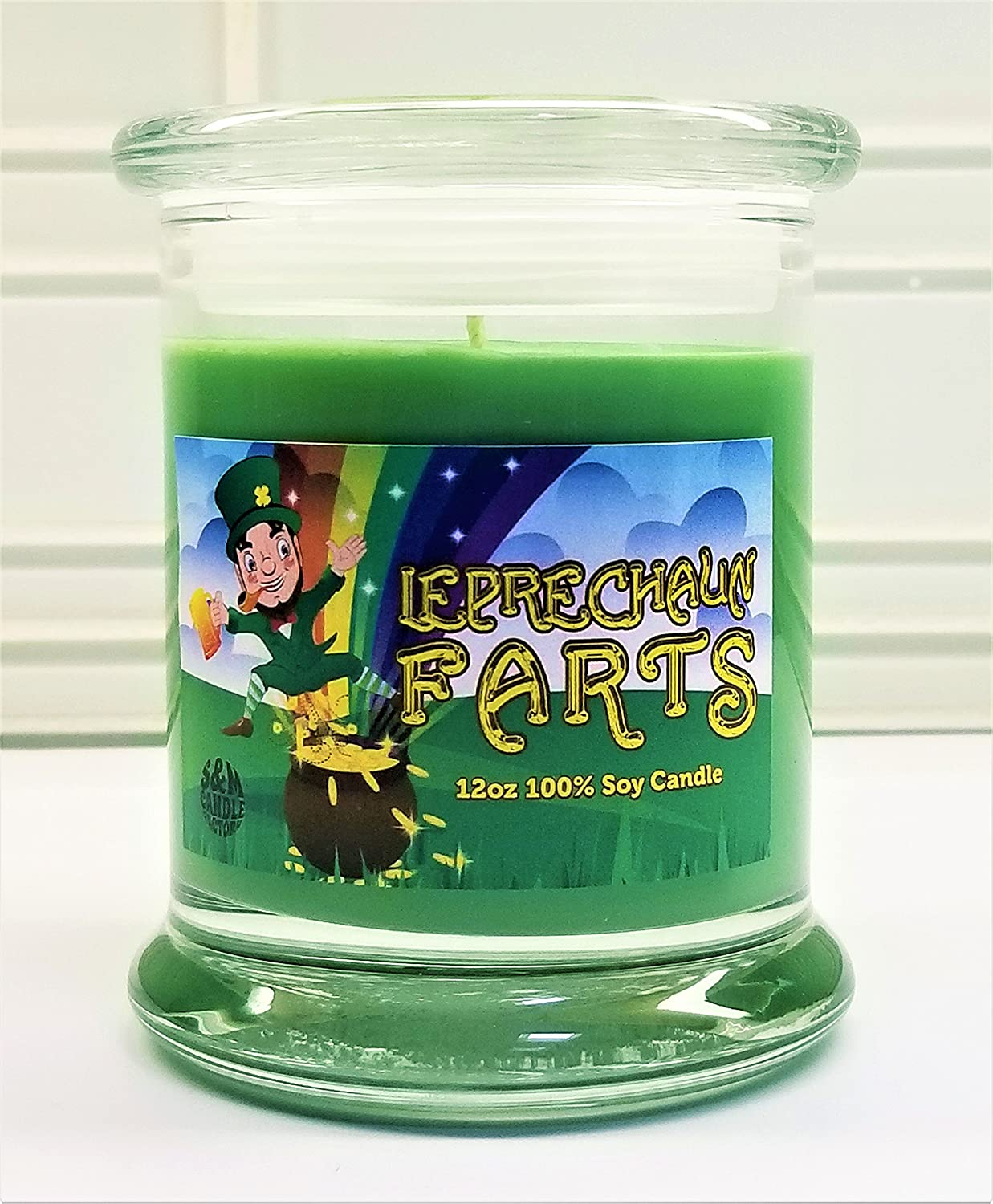Leprechaun Farts Candle ~ St. Patrick's Day Scented Candle Soy Wax Candle ~ S&M Candle Factory (Green, 12oz)