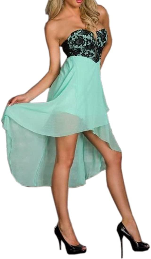 JJ-GOGO Strapless Everning Chiffon Hi Low Dress with Zip Front