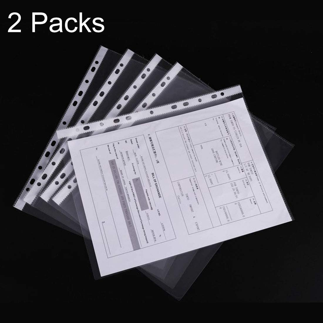 YINZHI School Supply 2 Packs Office Transparent 11 Holes A4 File Bag Loose-Leaf File Protector, About 100 PCS/Pack
