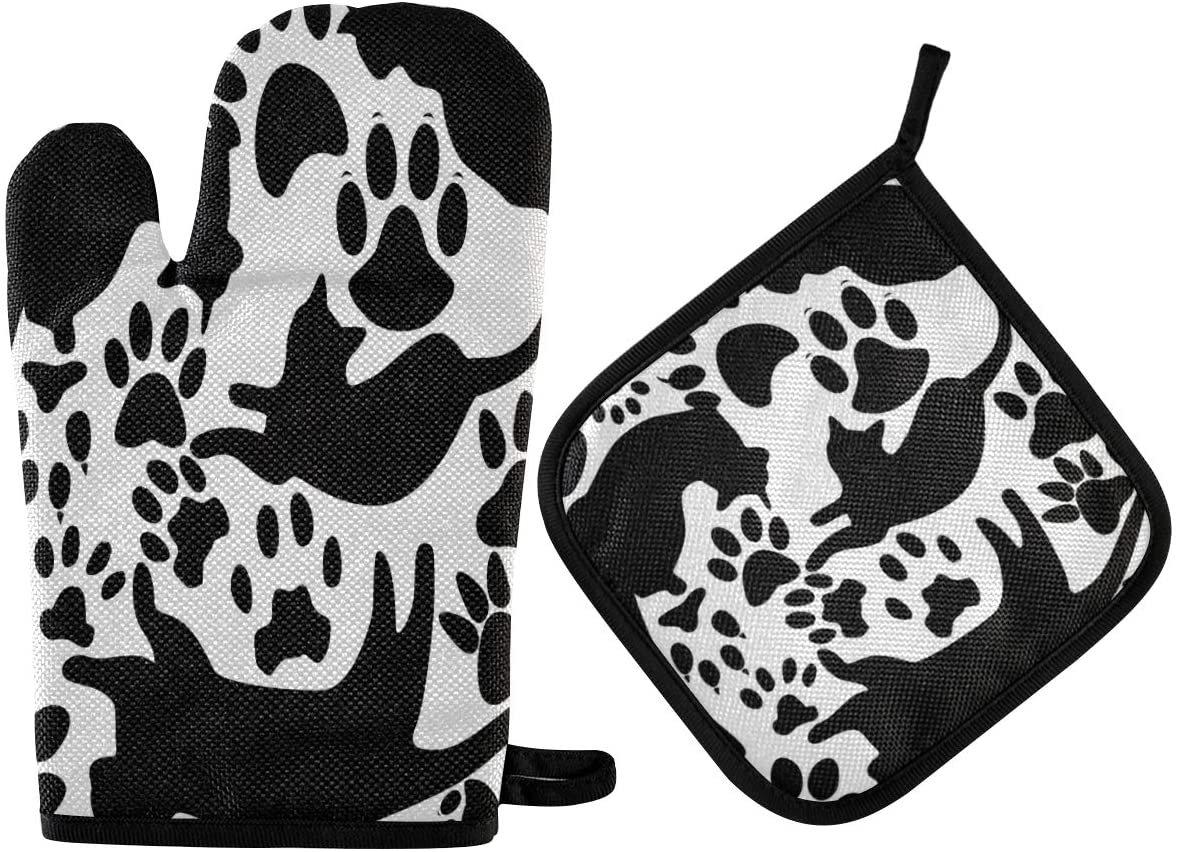 N\ A Cats Kitten Paw Print Black Oven Mitt and Potholder Set, 2 Pack ? Heat Resistant to 400 F ? Handle Hot Items Safely ? Non-Slip Grip Oven Mitt and Pot Holder with Hanging Loop