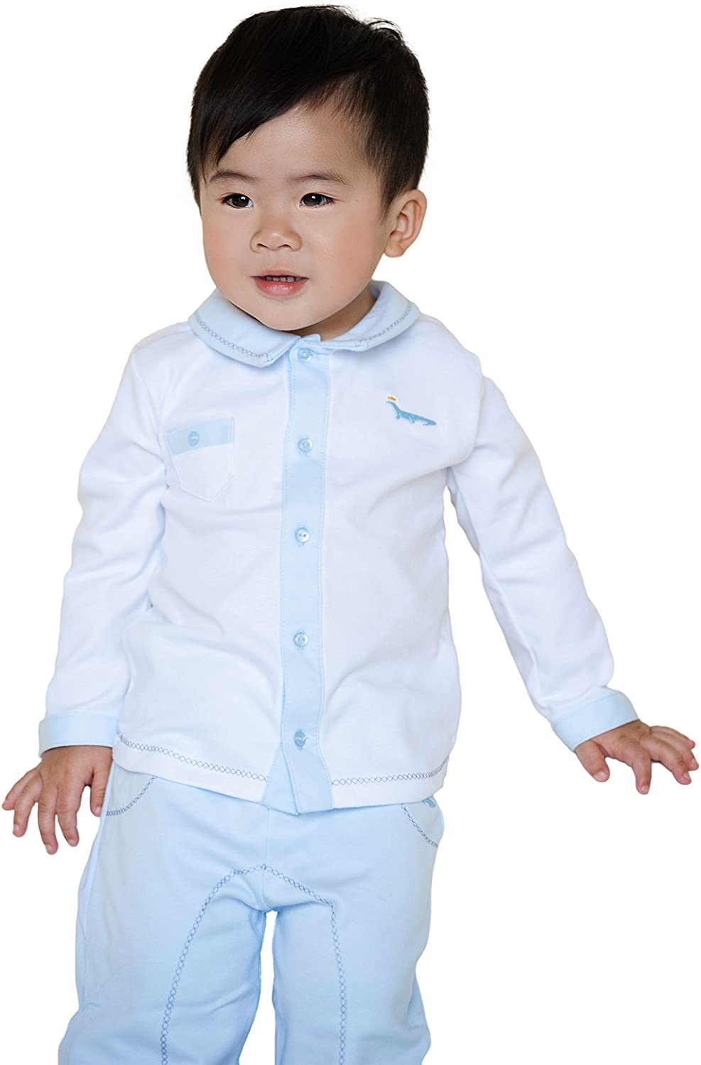 Baby Boys' Pant and Top Set - 100% Pima Cotton Blue and White Outfit
