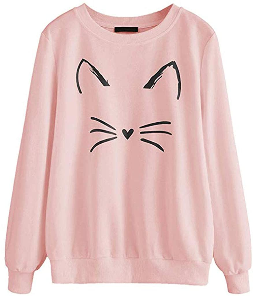 Hoodies for Women,Women Autumn and Winter Cat Weater Round Neck Long Sleeve Regular Blouse