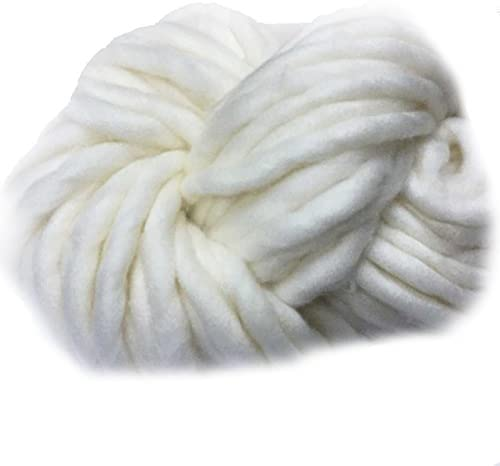 Super Chunky Big Loop Thick Polyester Bulky Yarn for Craft Wool Loom Weaving Tapestry 1 Skein of 8.8oz (250gram) (Beige)