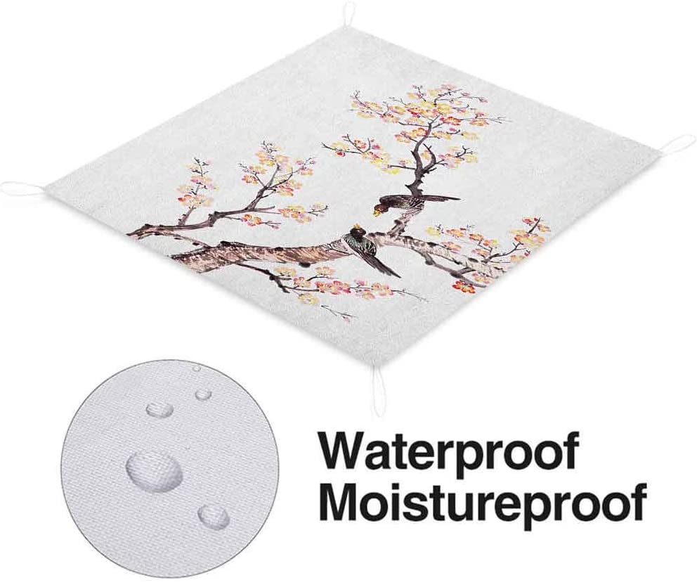 Art Picnic Blankets Waterproof Foldable, Traditional Chinese Paint of Flowers Plum Blossom Birds on Tree Romance Light Picnic Blanket, 60