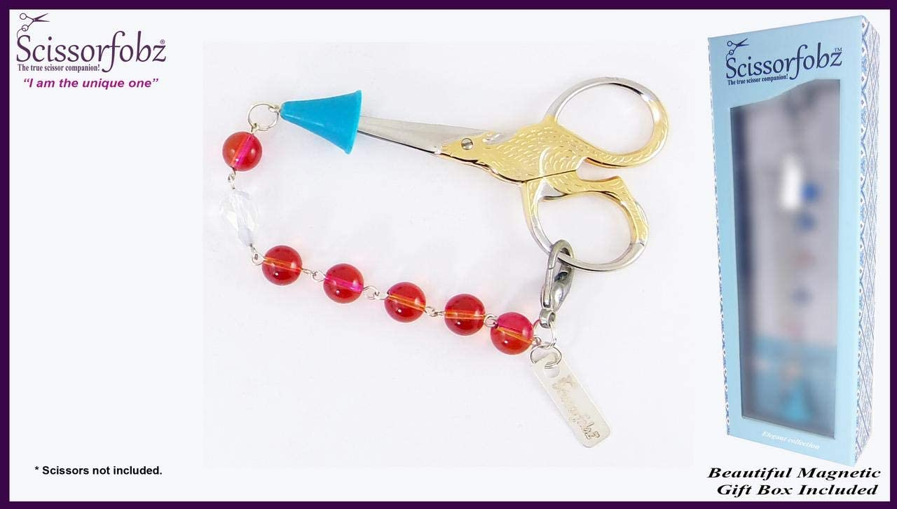 Scissors Fobs by SCISSORFOBZ-Elegant Collection with Sharp Scissors Point Protector for Added Safety- Quilters Sewers Needlework Embroidery Gifts. Beautiful Magnetic Gift Box Included. #E15000171