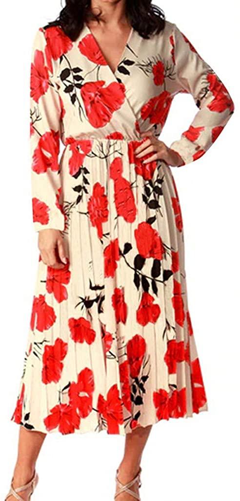 MoonHome Women Fashion V-Neck High-Waist Floral Print Long Sleeve Mid-Calf Dress
