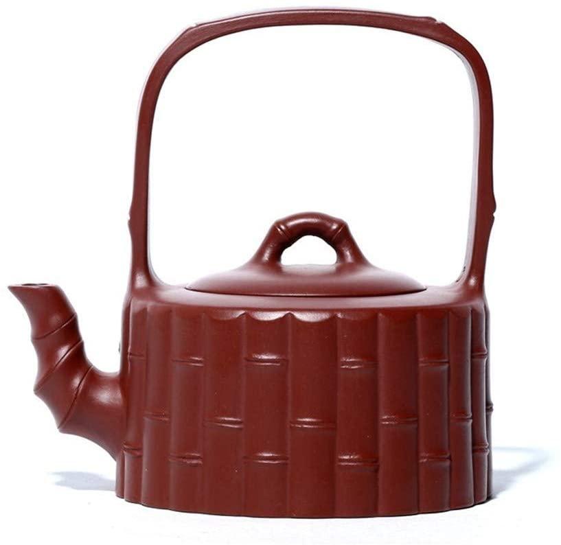 SHENLIJUAN Dahongpao ore teapot handmade bamboo drum Gantry teapot teapot (Color : Big red pouch)