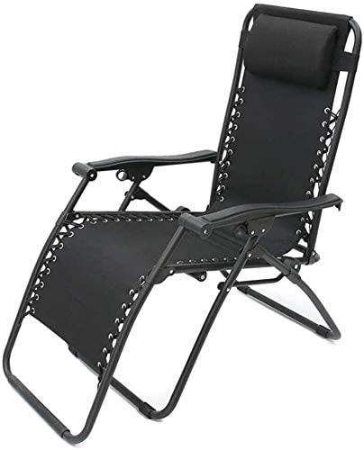 Aoyo Folding Chairs Folding Chaise Longue Outdoor Leisure Siesta Canvas Sun Beach Chair (Color : Black, Size : 526283cm)
