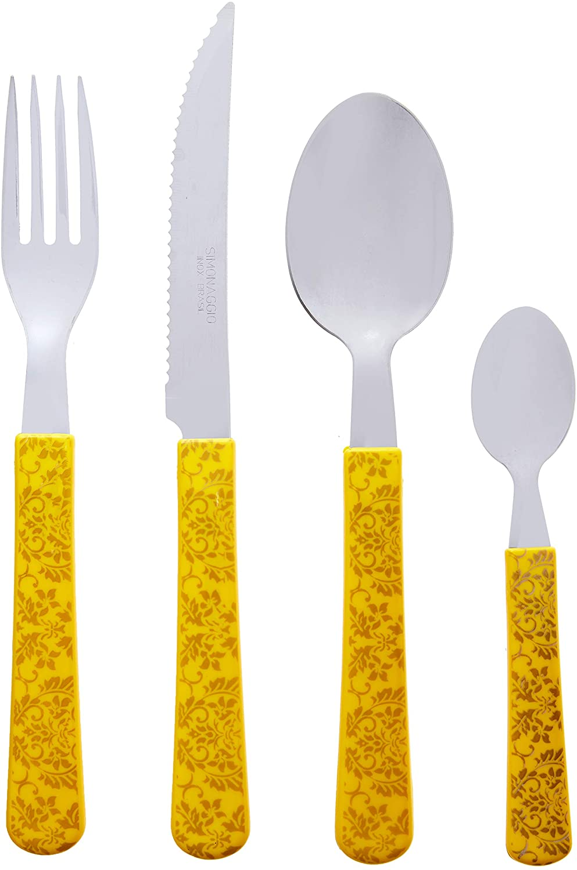 Simonaggio 24 Piece Decor Sintonia Flatware Set, One Size, Yellow