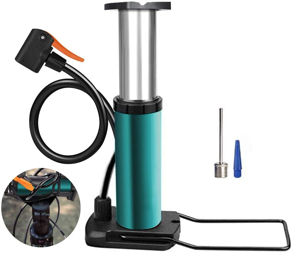 Mini Bike Floor Pump Foot Bicycle Tire Pump Portable Bike air Pump Compatible with Presta & Schrader Valves Aluminum Alloy Barrel Free Gas Needle