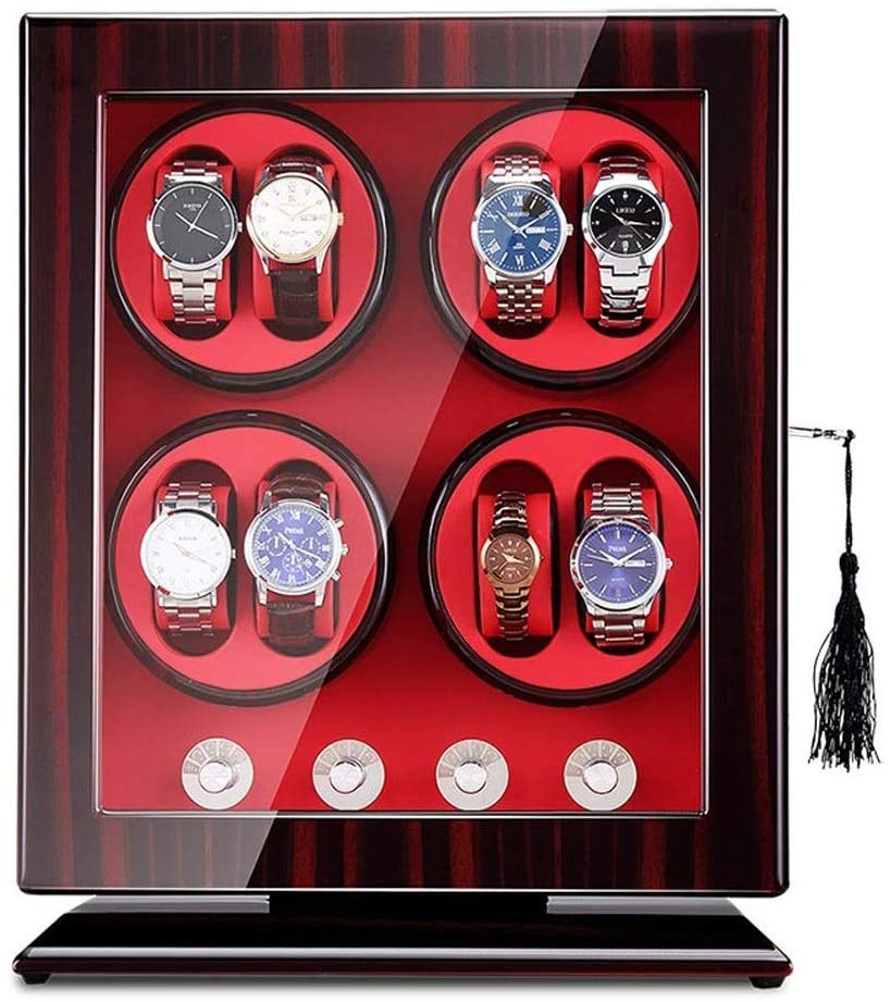 CJVJKN Automatic Watch Winder, Automatic Watch Winders, 8+0 Universal Watches Storage Boxes 5 Rotation Modes Quiet Motor- Mode Settings Suitable for Men's and Ladies Wrist Watch