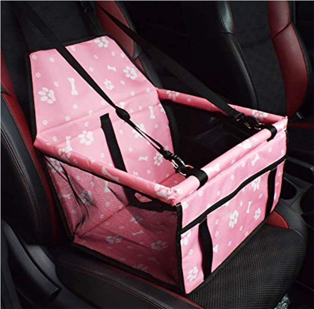 MEIQI Pet Car Seat,Folding&Waterproof Dog Car Seat Carrier with Seat Belt &Storage Bag for Dogs and Cats