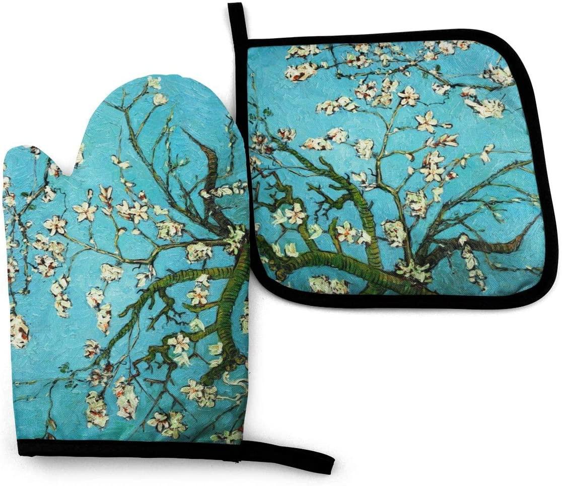 Oven Mitt and Pot Holders, 2 Piece Set, Van Gogh Bloom Flowers Cotton Lining Waterproof BBQ Gloves