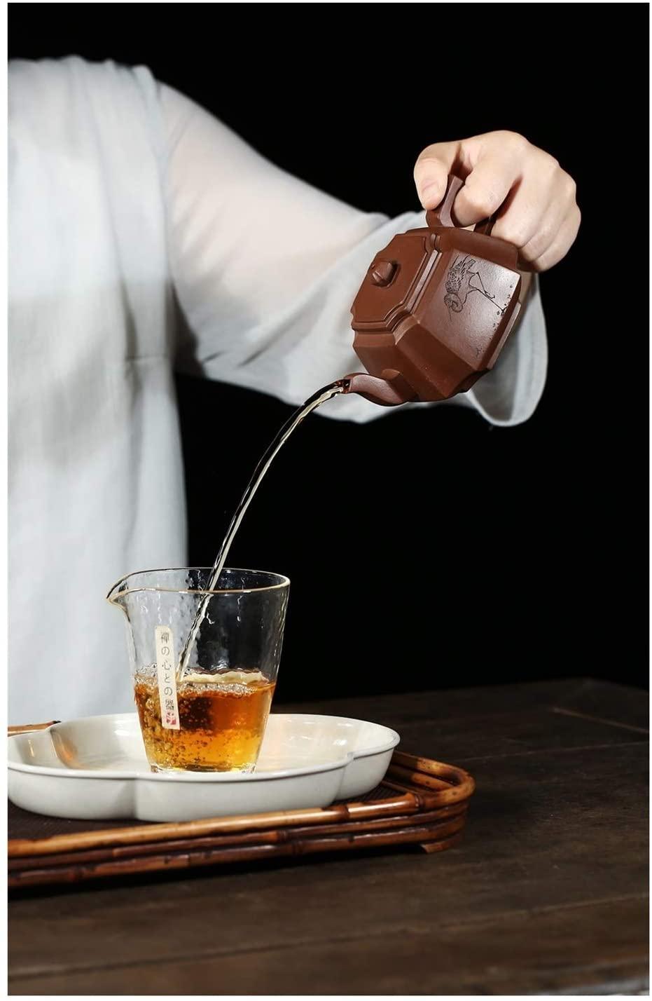 Bin Zhang Teapot famous hand-drawn bottom groove angle tetragonal ore clear tea 200cc (Color : Purple mud)
