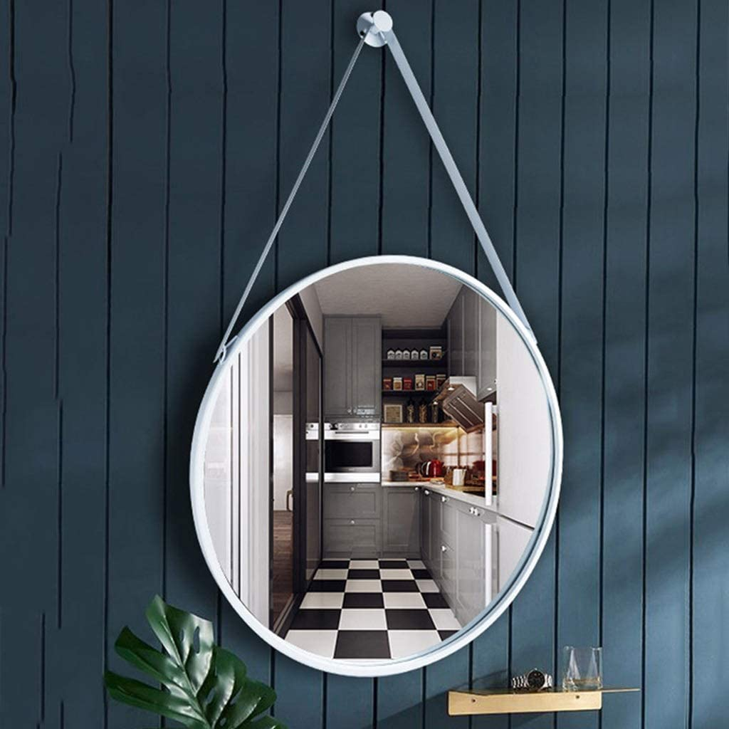 RXY-mirror Nordic Hanging Mirror Wrought Iron Mirror, Metal Hanging Mirror | Paint Process (Color : Silver, Size : 70cm)